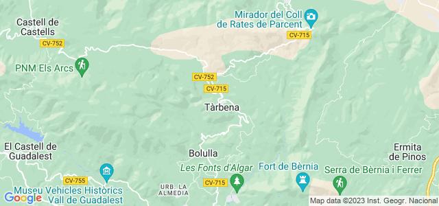Mapa de Tàrbena